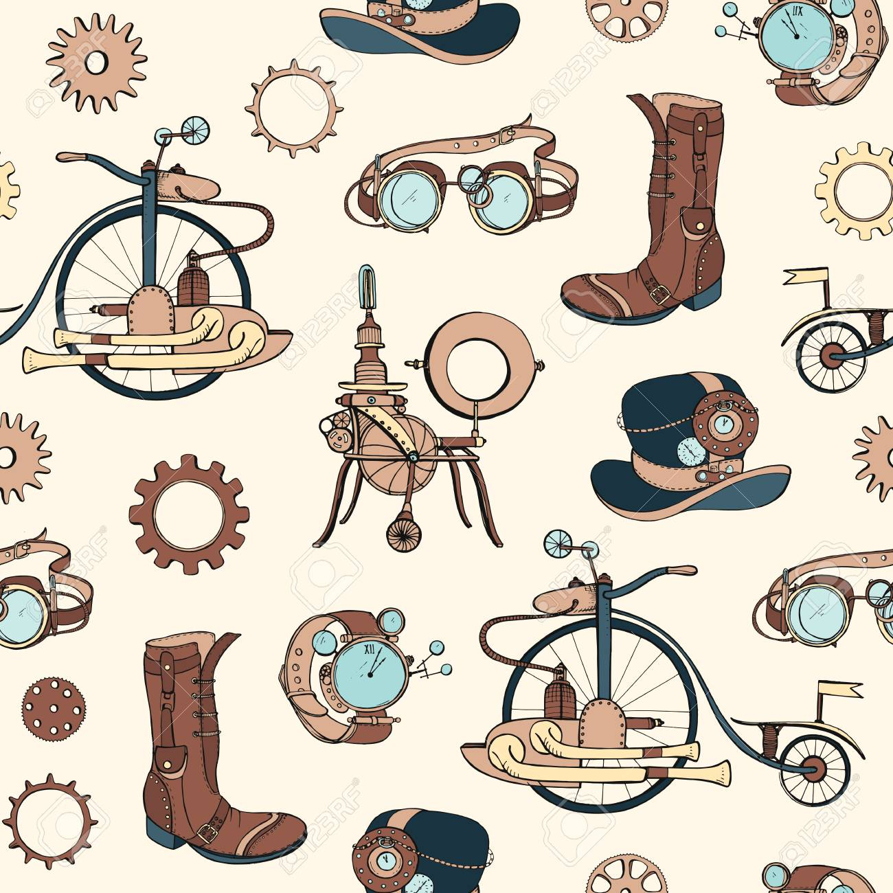 Seamless pattern with steampunk attributes and apparel hand drawn on light background. Backdrop with steam powered machines. Colorful realistic vector illustration for wallpaper, wrapping paper - 115043212
