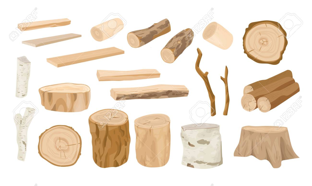 Collection of wooden logs, tree branches, lumbers, timber sawn into rough planks isolated on white background. Set of lumber and industrial wood. Colorful vector illustration in realistic style - 115043223