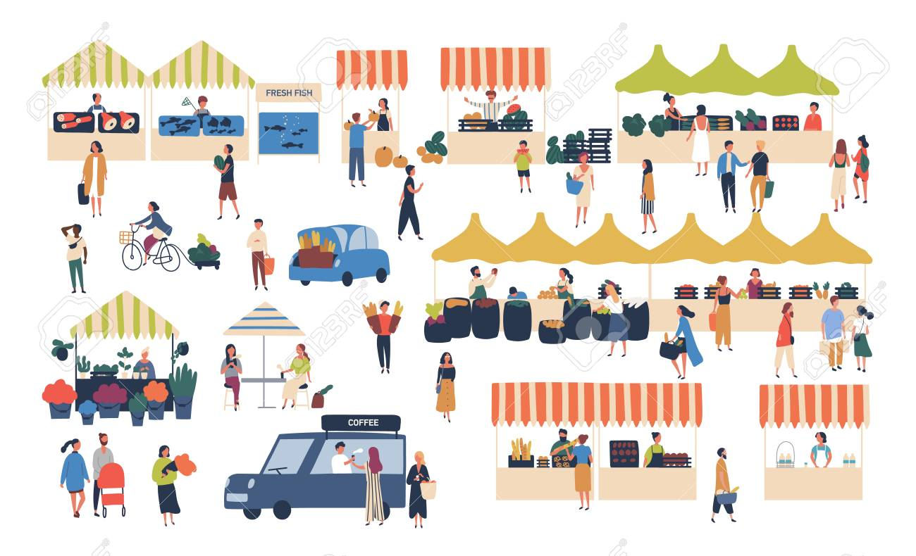 Seasonal outdoor street market. People walking between counters, buying vegetables, fruits, meat and other farmer products. Buyers and sellers on marketplace. Cartoon colorful vector illustration - 114826420