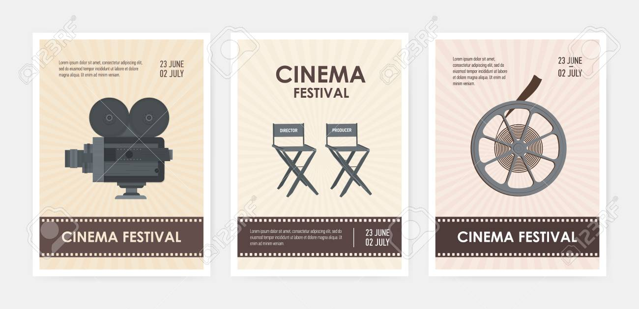 bundle of vertical flyer or poster templates with retro camera