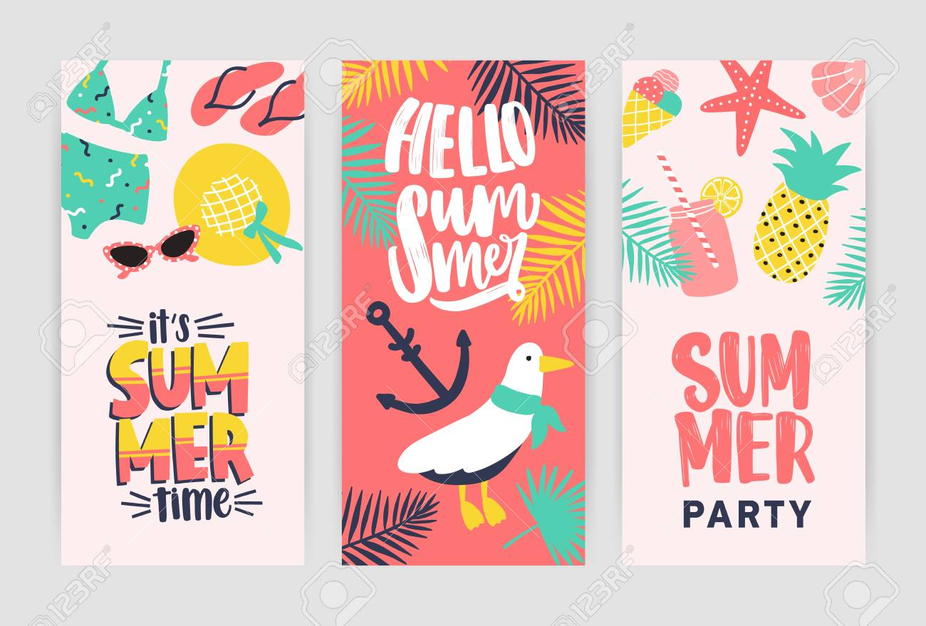 bundle of creative flyer templates for summer party announcement