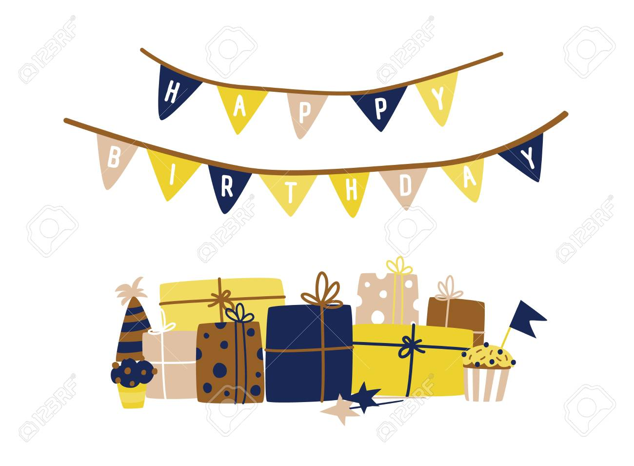 Greeting Card Template With Happy Birthday Wish Written On Flag