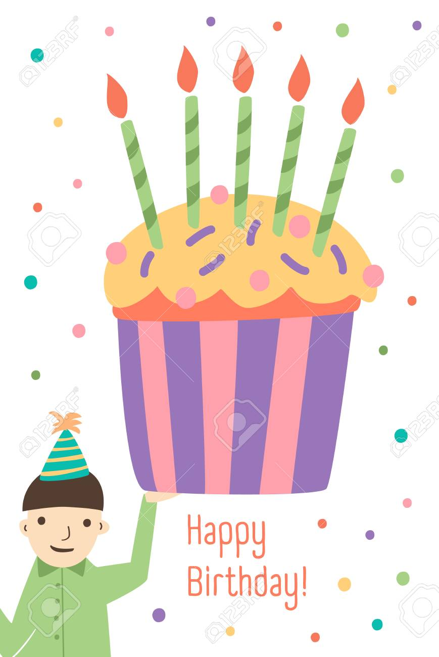 Vertical Greeting Card Template With Happy Birthday Wish, Cute ...