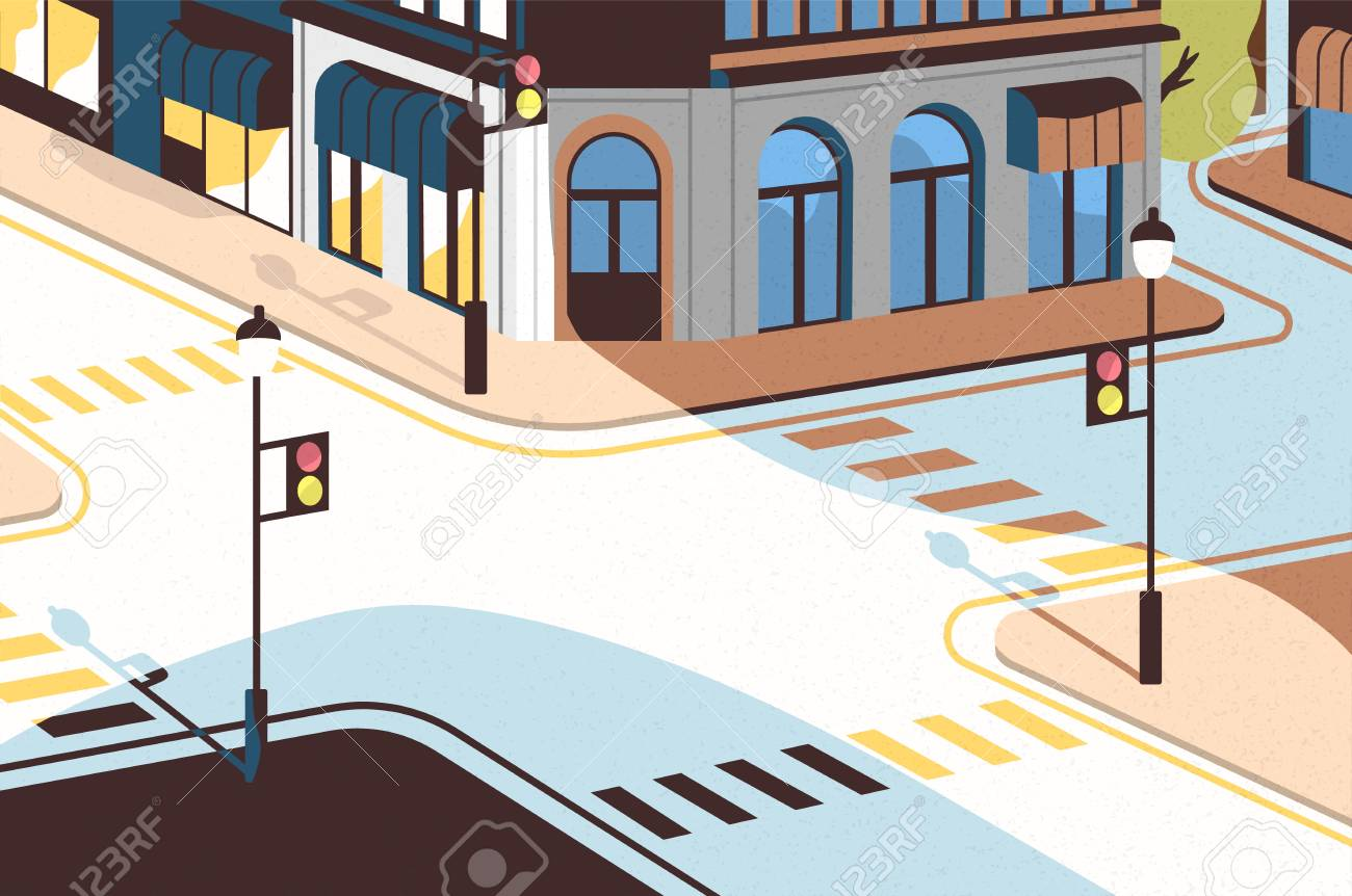 Cityscape with street intersection, elegant buildings, crossroad with traffic signals and zebra crossings or crosswalks. Downtown of modern city. Colorful vector illustration in cartoon flat style. - 106334543