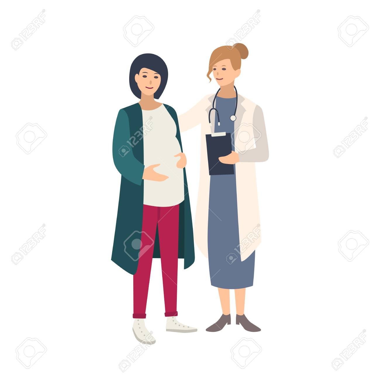 Cheerful pregnant woman standing together with female doctor, physician or midwife and talking to her. Healthy pregnancy, reproductive health. Colorful vector illustration in flat cartoon style - 112027509