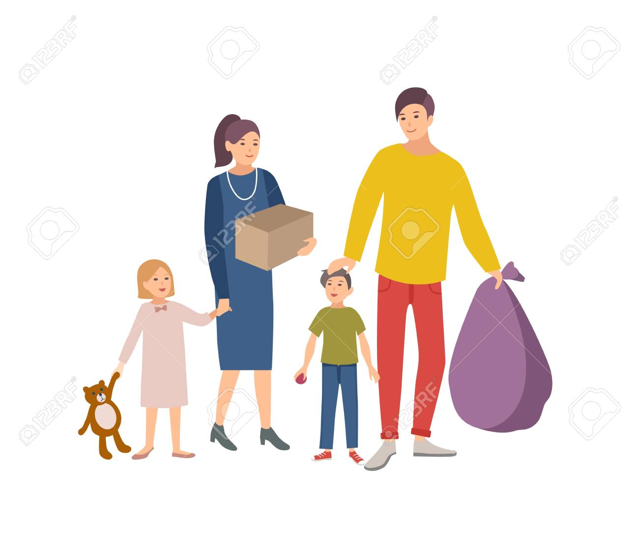 Man, woman and children carrying bag and box with old items and