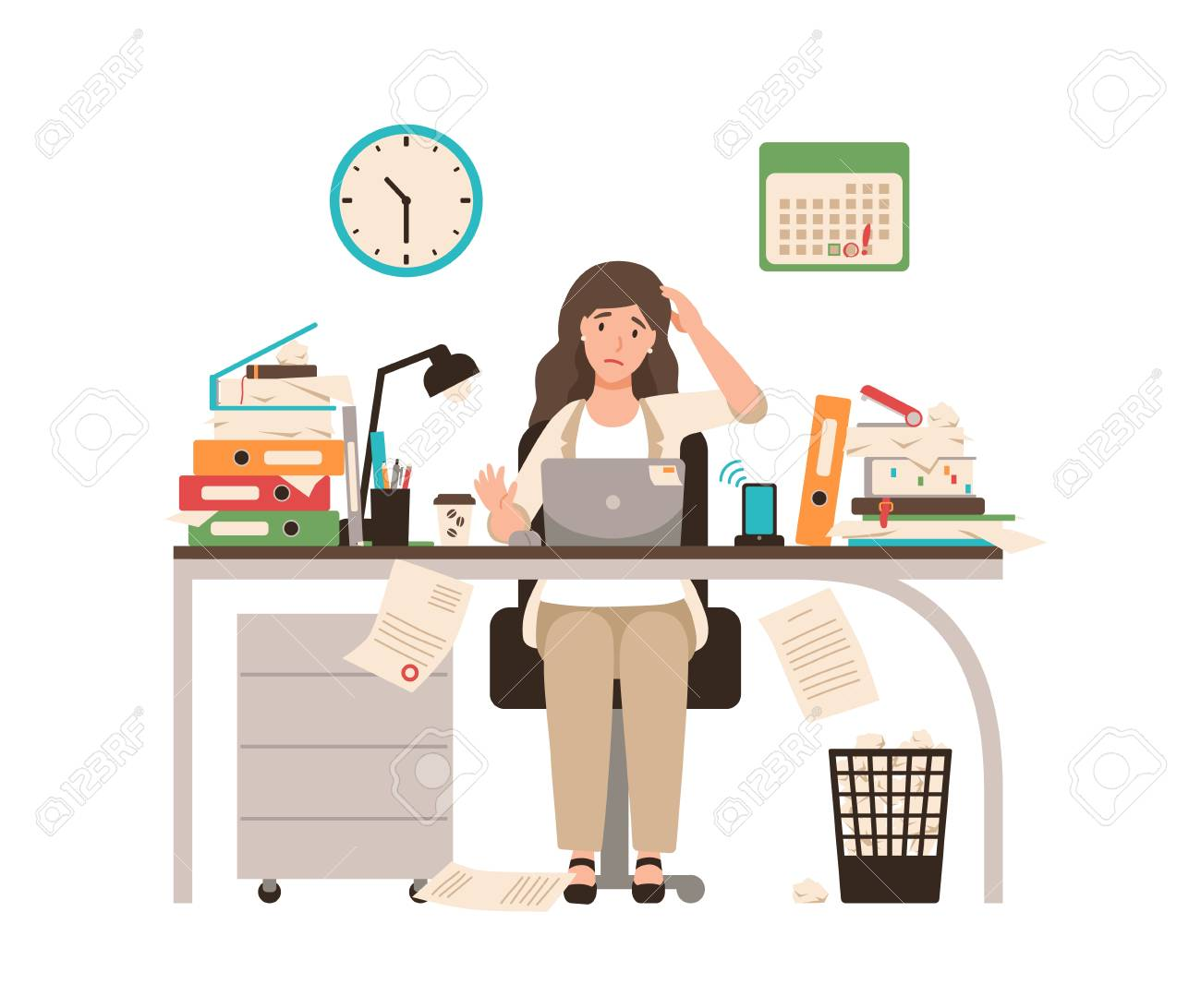 Busy female office worker or clerk sitting at desk completely covered with documents. Woman working at laptop overtime on day before deadline. Colorful vector illustration in flat cartoon style. - 106334555