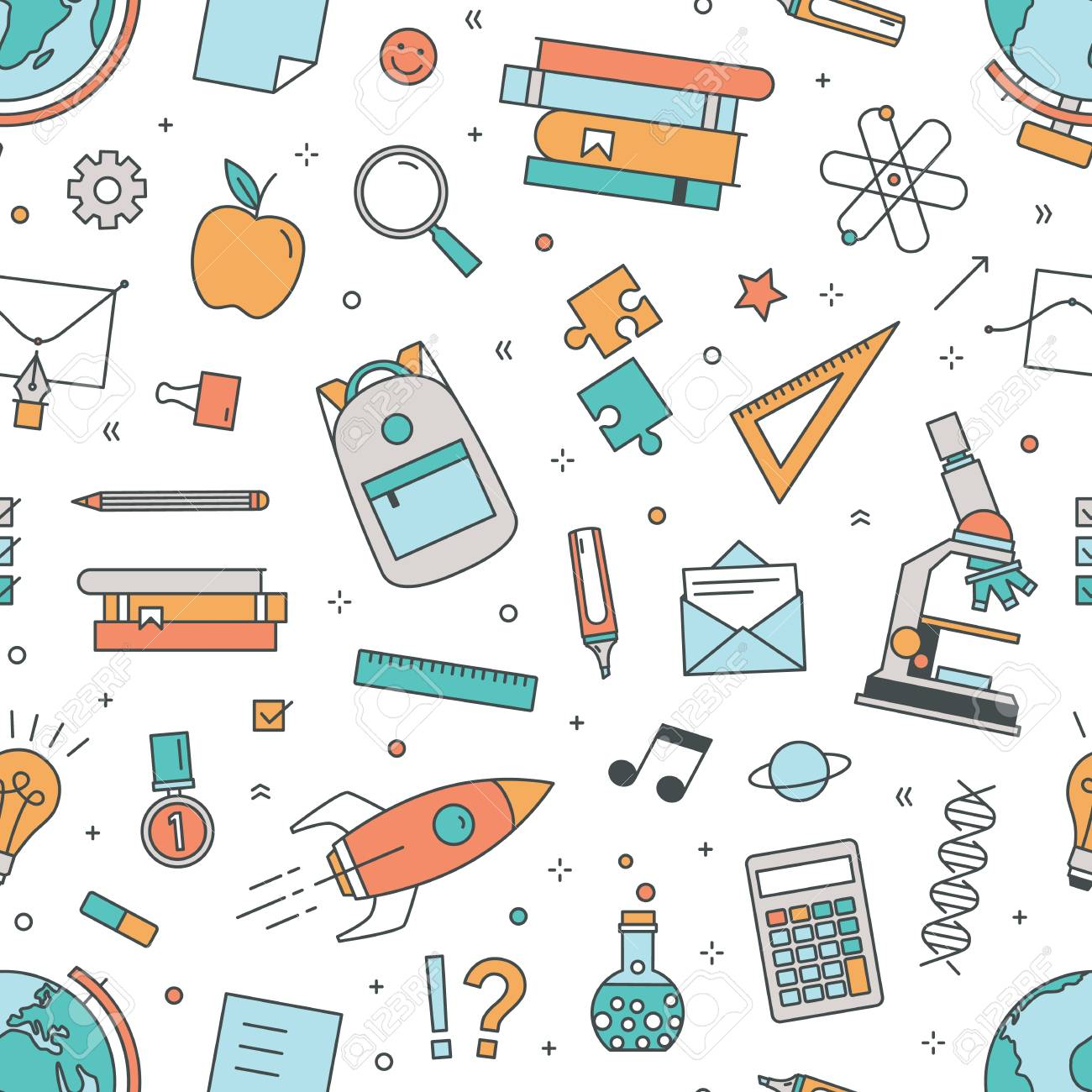 Modern Seamless Pattern With School Supplies On White Background Royalty Free Cliparts Vectors And Stock Illustration Image 110469045