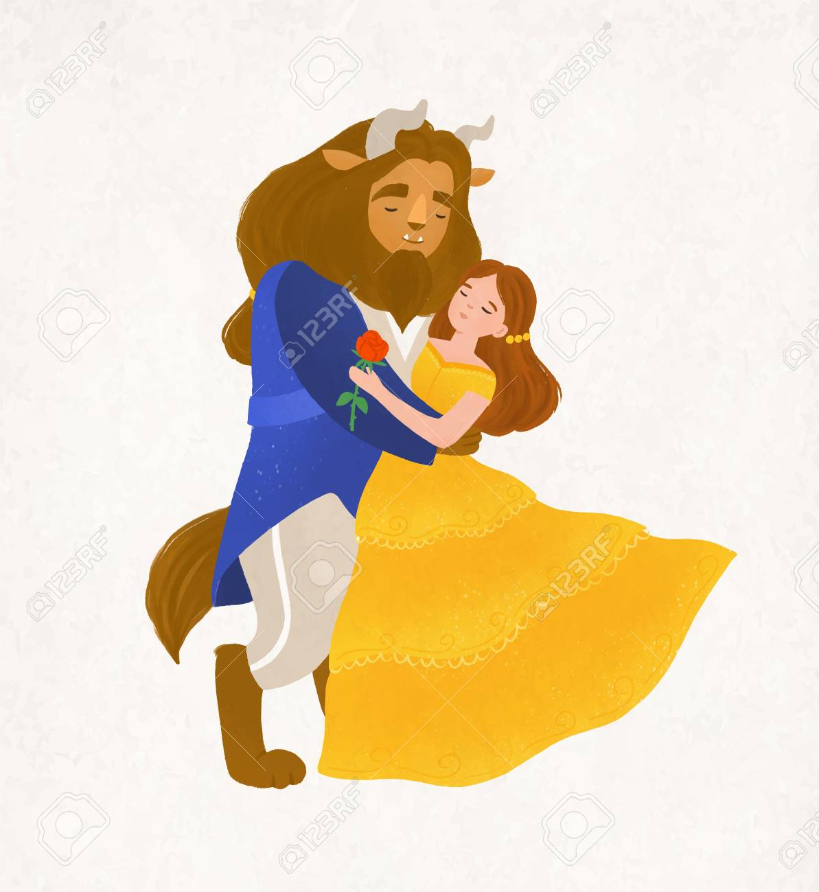 Beauty and Beast dancing waltz. Young woman and bewitched creature from magic tale. Adorable fairytale characters isolated on white background. Colorful vector illustration in flat cartoon style - 110250692