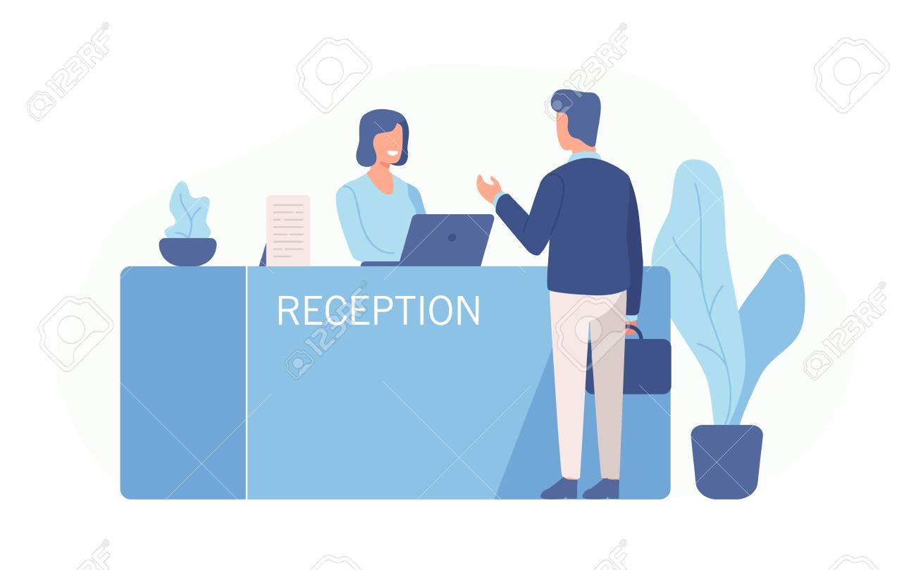Male customer standing at reception desk and talking to female receptionist. Scene of visit to service center isolated on white background. Colorful vector illustration in flat cartoon style - 110250735