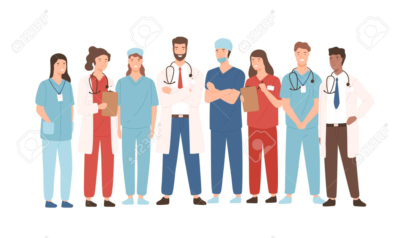 Group of hospital medical staff standing together. Male and female medicine workers - physicians, doctors, paramedics, nurses isolated on white background. Vector illustration in flat cartoon style - 109811724