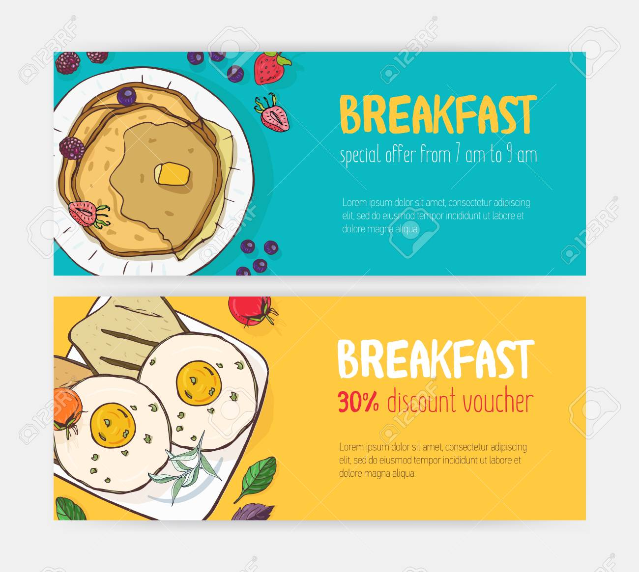 Collection of horizontal discount voucher or coupon templates with delicious breakfast meals lying on plates. Bright colored vector illustration for cafe or restaurant promotion, advertisement - 117295971