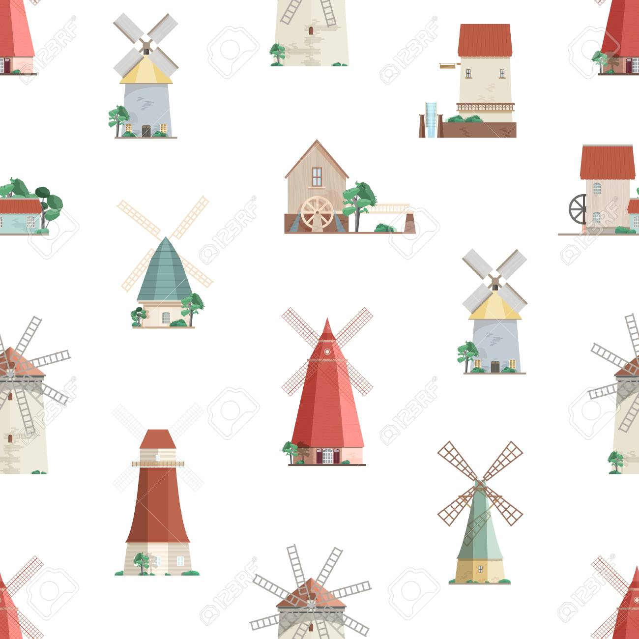 Colorful seamless pattern with watermills and windmills on white background. Backdrop with old European wind and water mills. Vector illustration in flat cartoon style for wrapping paper, wallpaper - 117296049