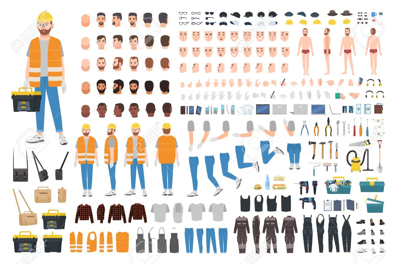 Worker or repairer DIY kit. Collection of male cartoon character body parts, facial expressions, gestures, clothes, working tools isolated on white background. Colorful flat vector illustration - 117296057
