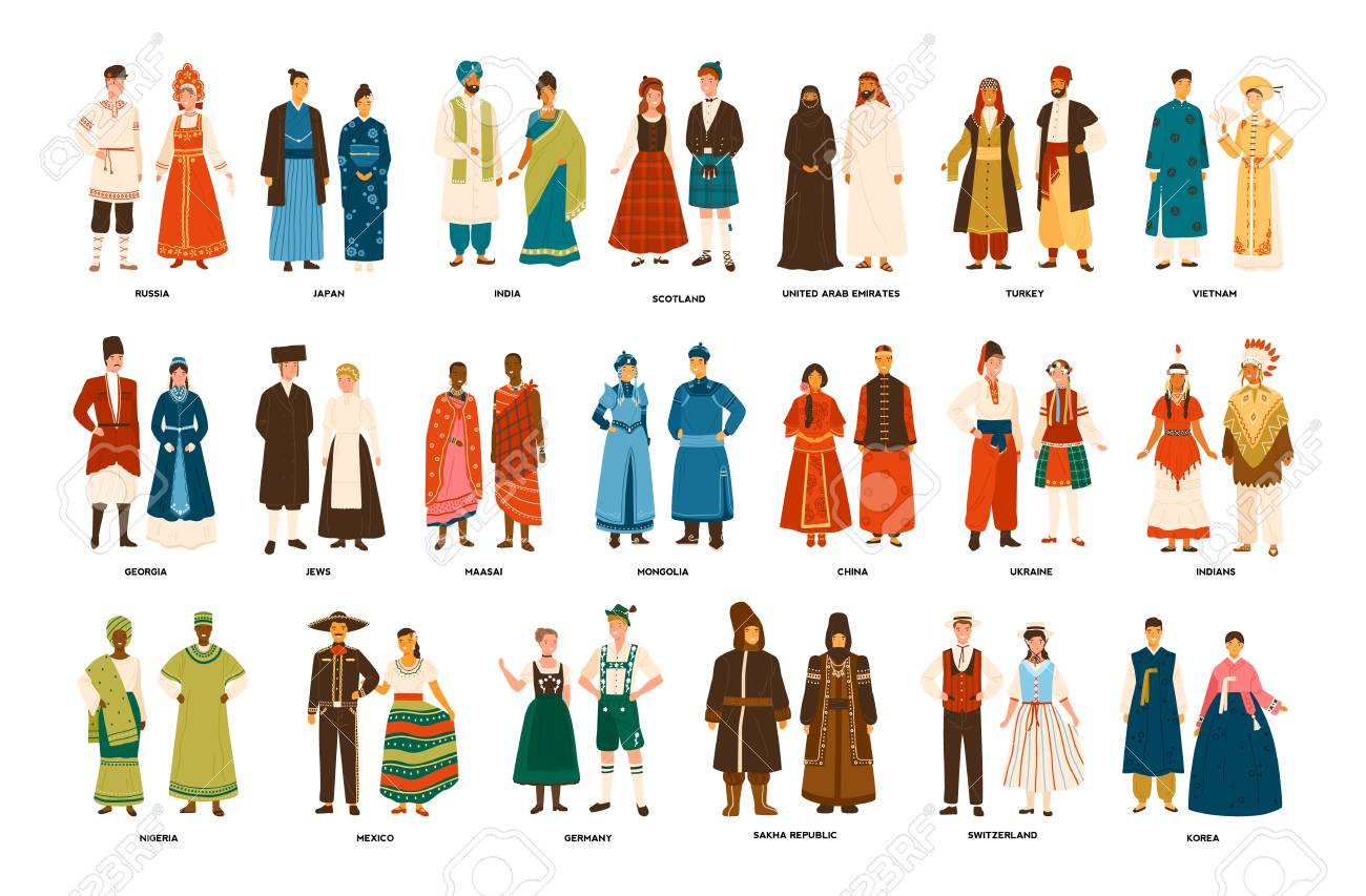 Collection of men and women dressed in folk costumes of various countries isolated on white background. Set of people wearing ethnic clothing. Colorful vector illustration in flat cartoon style. - 112549912