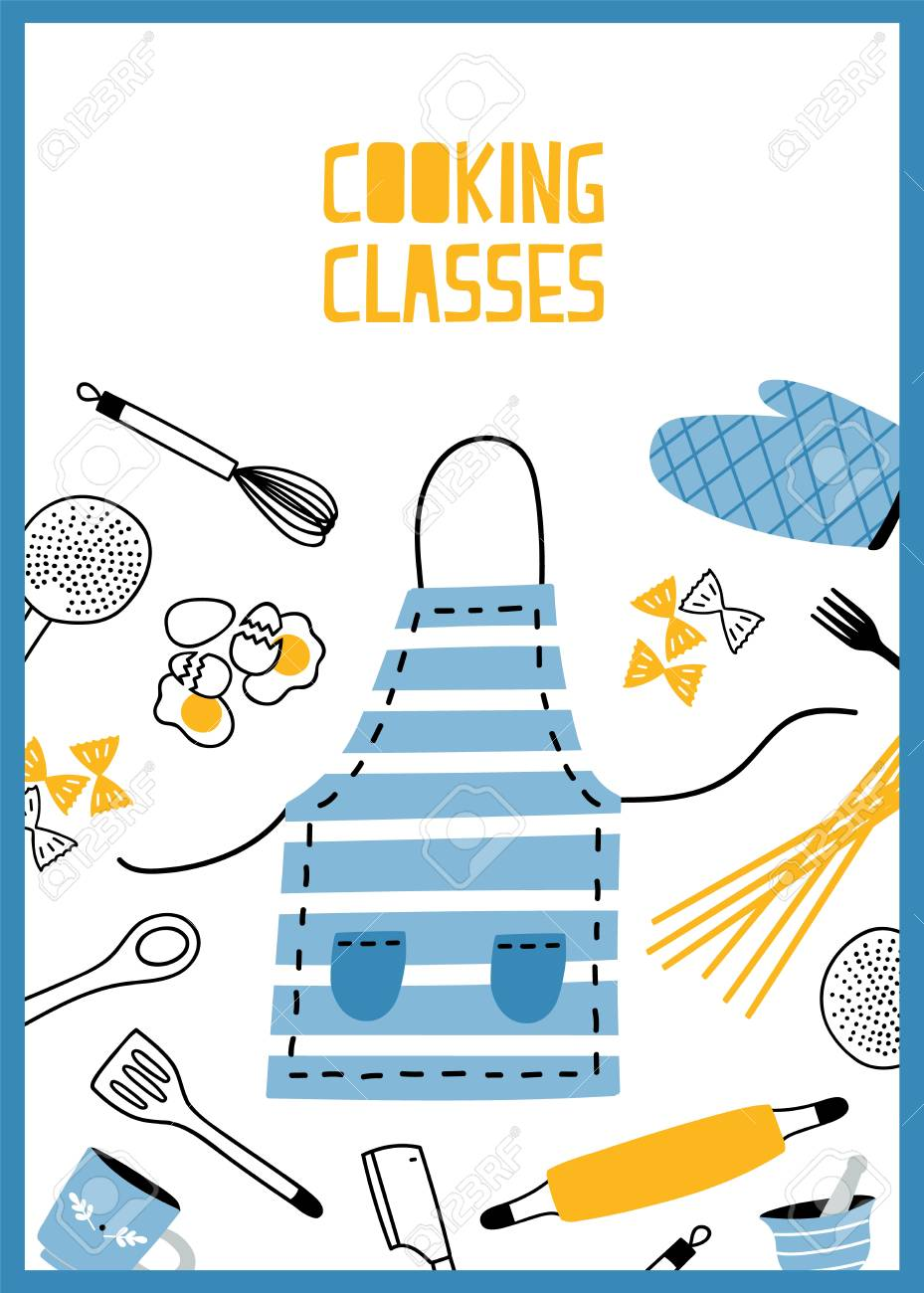 Flyer Or Poster Template With Kitchen Utensils Tools And Equipment