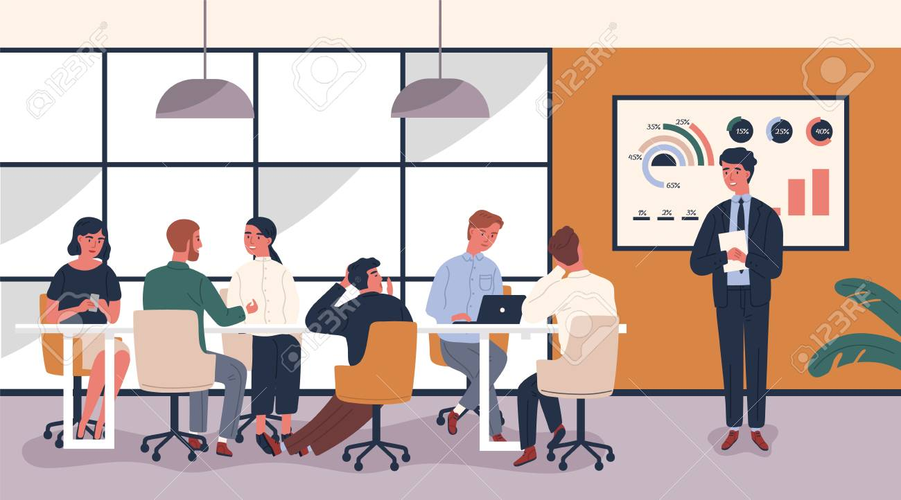 Man making boring and tedious presentation in front of people sitting at table. Lecturer giving dull lecture to audience demonstrating lack of interest. Vector illustration in modern flat style - 117296442