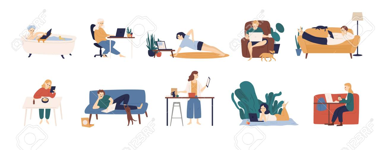 Collection of people surfing internet on their laptop and tablet computers. Set of men and women spending time online isolated on white background. Colorful vector illustration in flat cartoon style - 117296455
