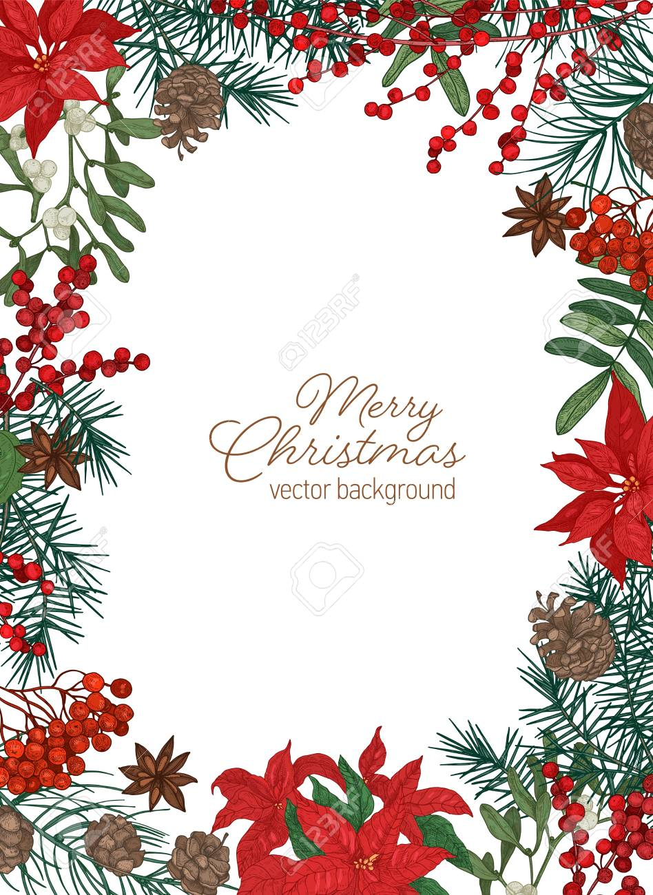 Christmas Greeting Card Template With Festive Wish Inside Border