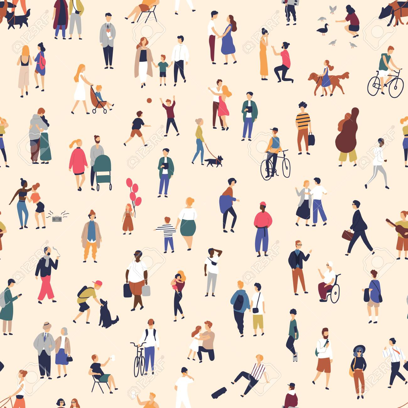 Seamless pattern with tiny people walking on street. Backdrop with men, women and children performing outdoor activity. Colorful vector illustration in flat cartoon style for wallpaper, fabric print - 117296588
