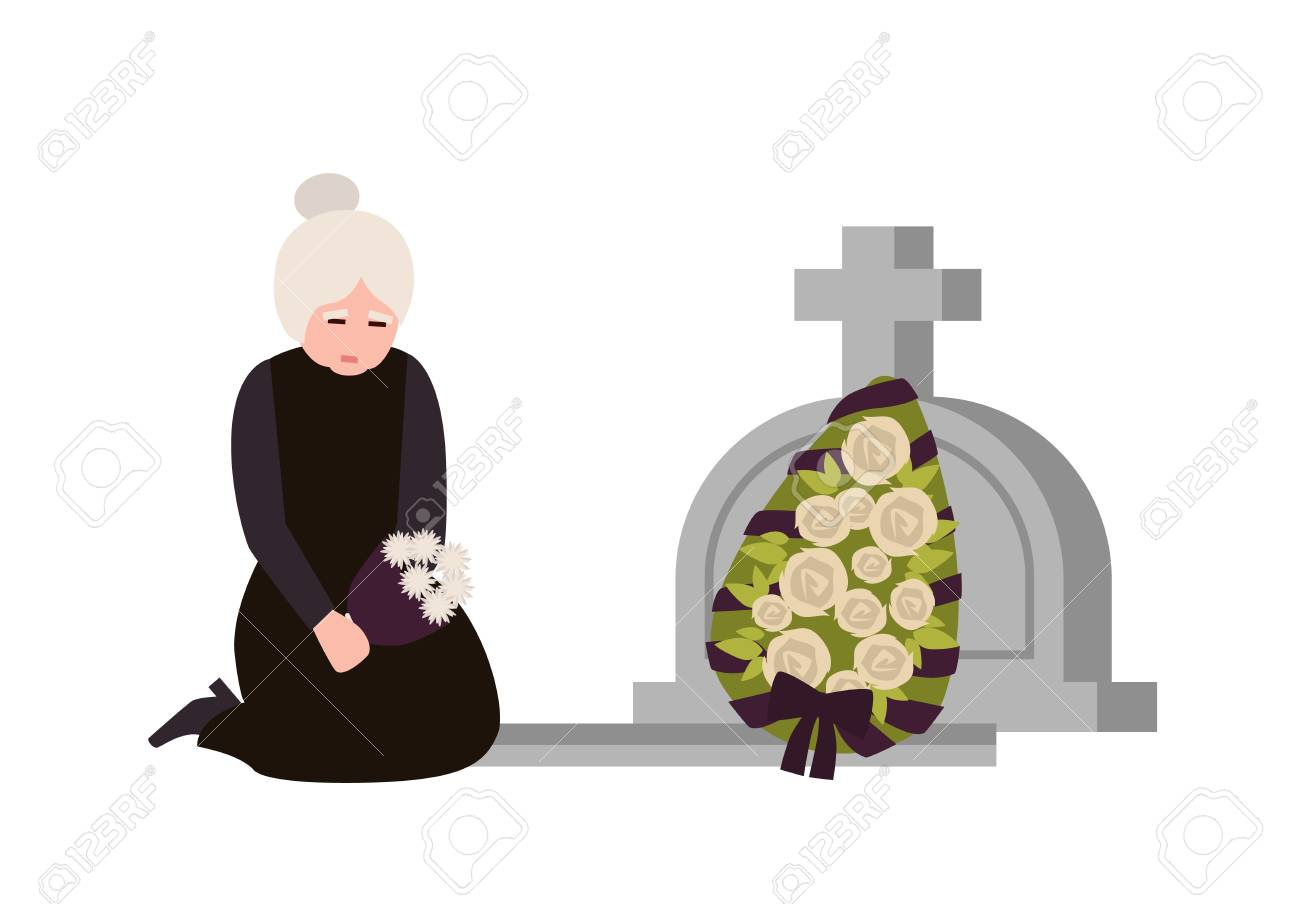 Sorrowful elderly woman dressed in mourning clothes crying near grave with headstone and wreath. Sad widow grieving on graveyard or cemetery. Colorful vector illustration in flat cartoon style - 117296757