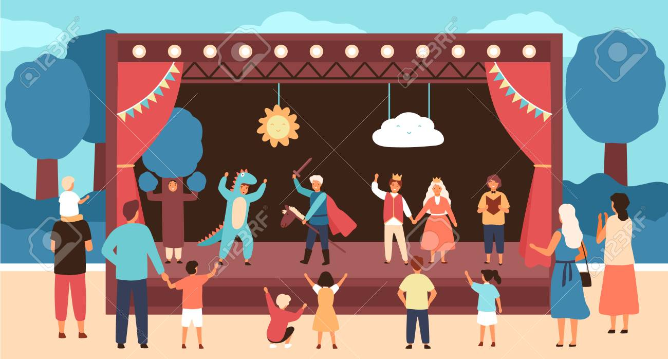 Street theatre for children with actors dressed in costumes performing play or fairytale in front of audience. Outdoor theatrical performance for kids. Vector illustration in flat cartoon style - 114698887