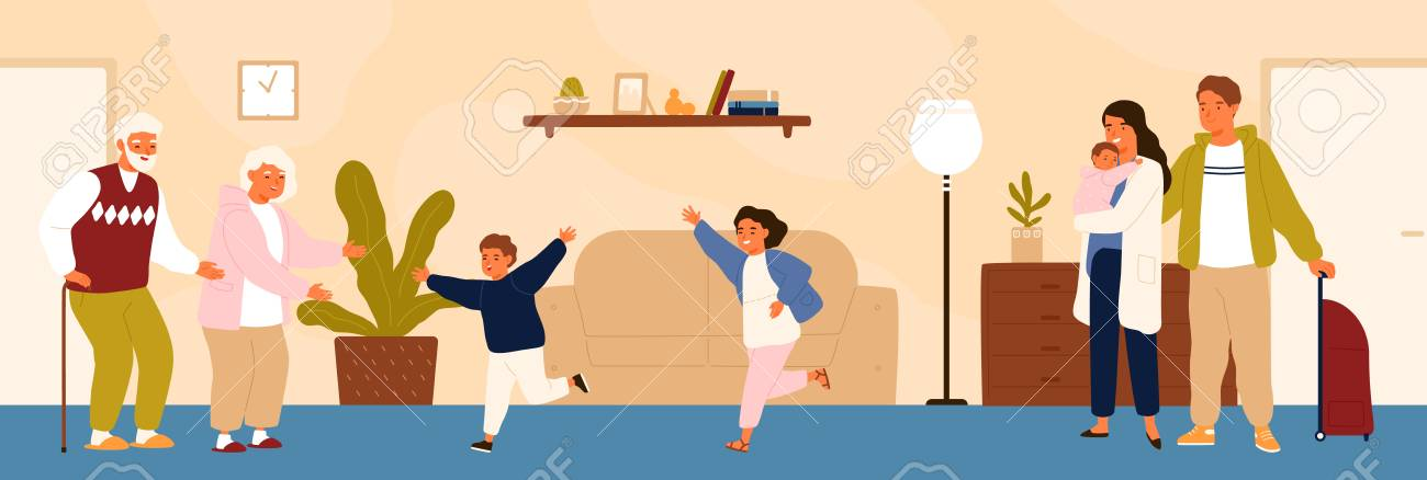 Joyful grandchildren meeting their grandparents. Happy family visiting grandfather and grandmother. Grandson and granddaughter running to hug grandma and granddad. Flat cartoon vector illustration - 117296976