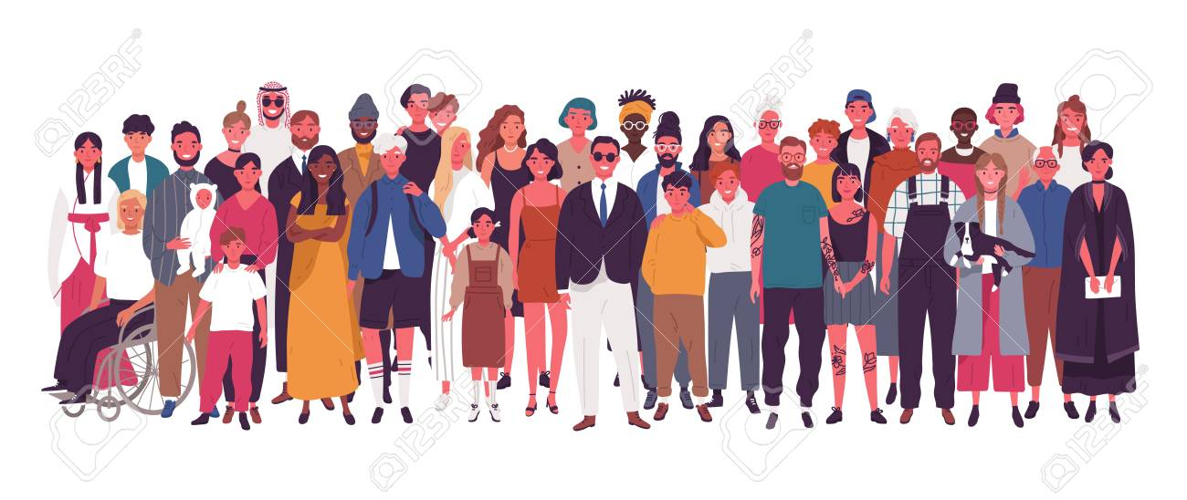 Diverse multiracial and multicultural group of people isolated on white background. Happy old and young men, women and children standing together. Social diversity. Flat cartoon vector illustration - 117297085