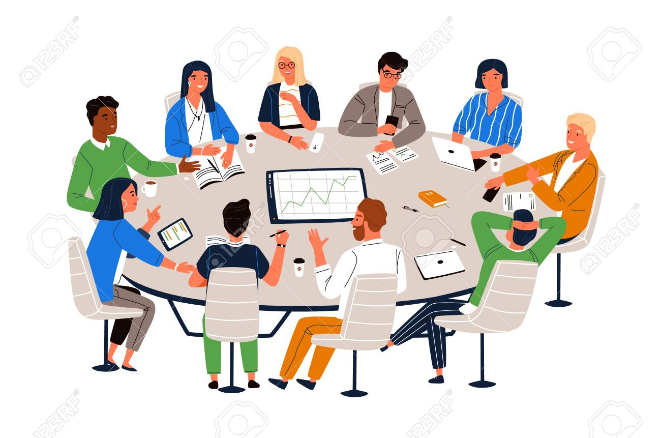Office workers sitting at round table and discussing ideas, exchanging information. Work meeting, business negotiation, conference, group discussion. Cartoon vector illustration in flat style. - 118955188