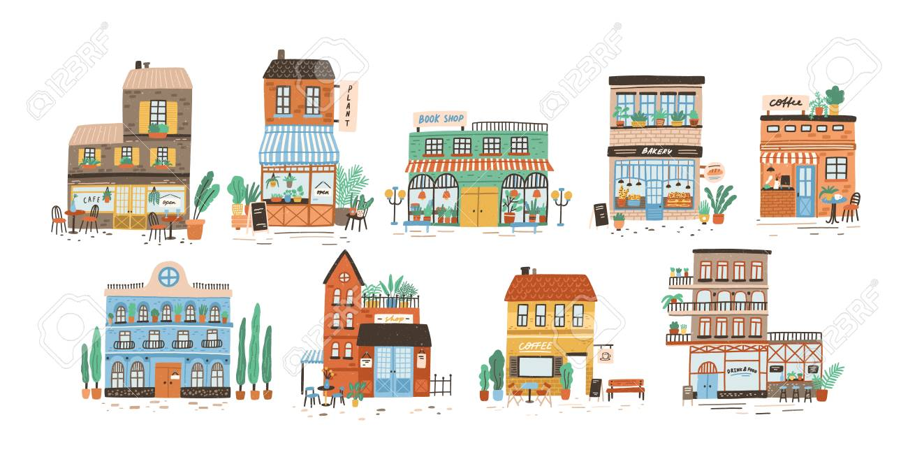 Collection of stores, shops, cafe, restaurant, bakery, coffee house isolated on white background. Bundle of buildings on street of European city. Flat vector illustration in cute naive style. - 119418546