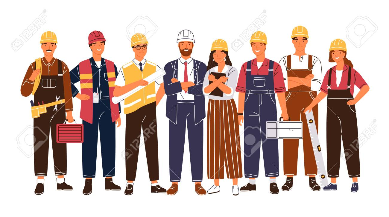 Group portrait of cute happy industry or construction workers, engineers standing together. Team of smiling male and female employees wearing hard hats and uniform. Flat cartoon vector illustration. - 119418587