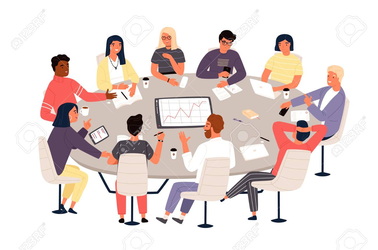 Clerks or colleagues sitting at round table and discussing ideas or brainstorming. Business meeting, formal negotiation, conference, group discussion. Vector illustration in flat cartoon style. - 119418596