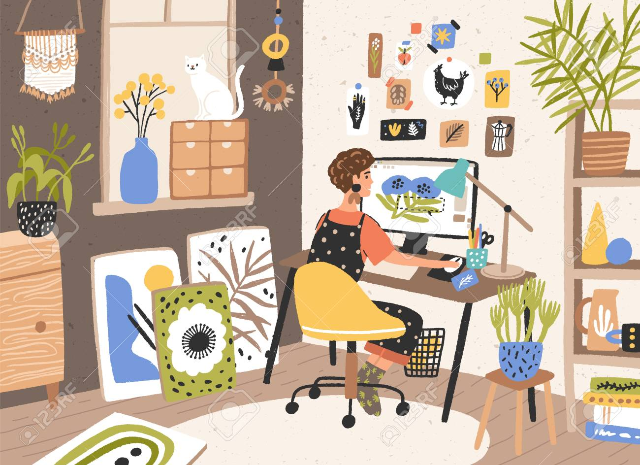 Female Graphic Designer Illustrator Or Freelance Worker Sitting Royalty Free Cliparts Vectors And Stock Illustration Image 123424844