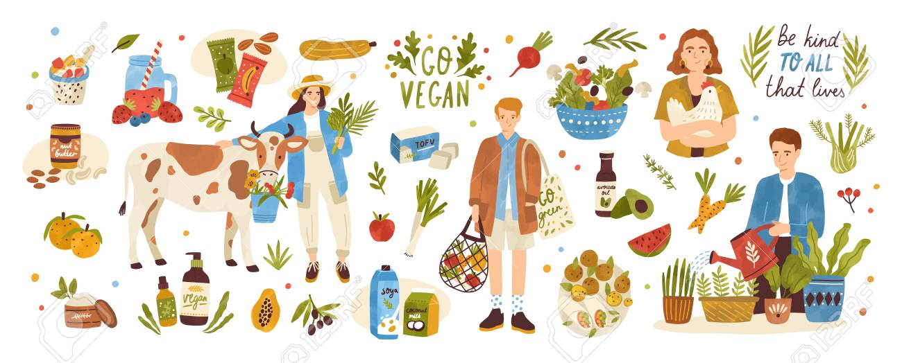 Collection of organic eco vegan products - natural cosmetics, vegetables, fruits, berries, tofu, nut butter, soy and coconut milk. Urban gardening and farming set. Flat cartoon vector illustration - 123962395