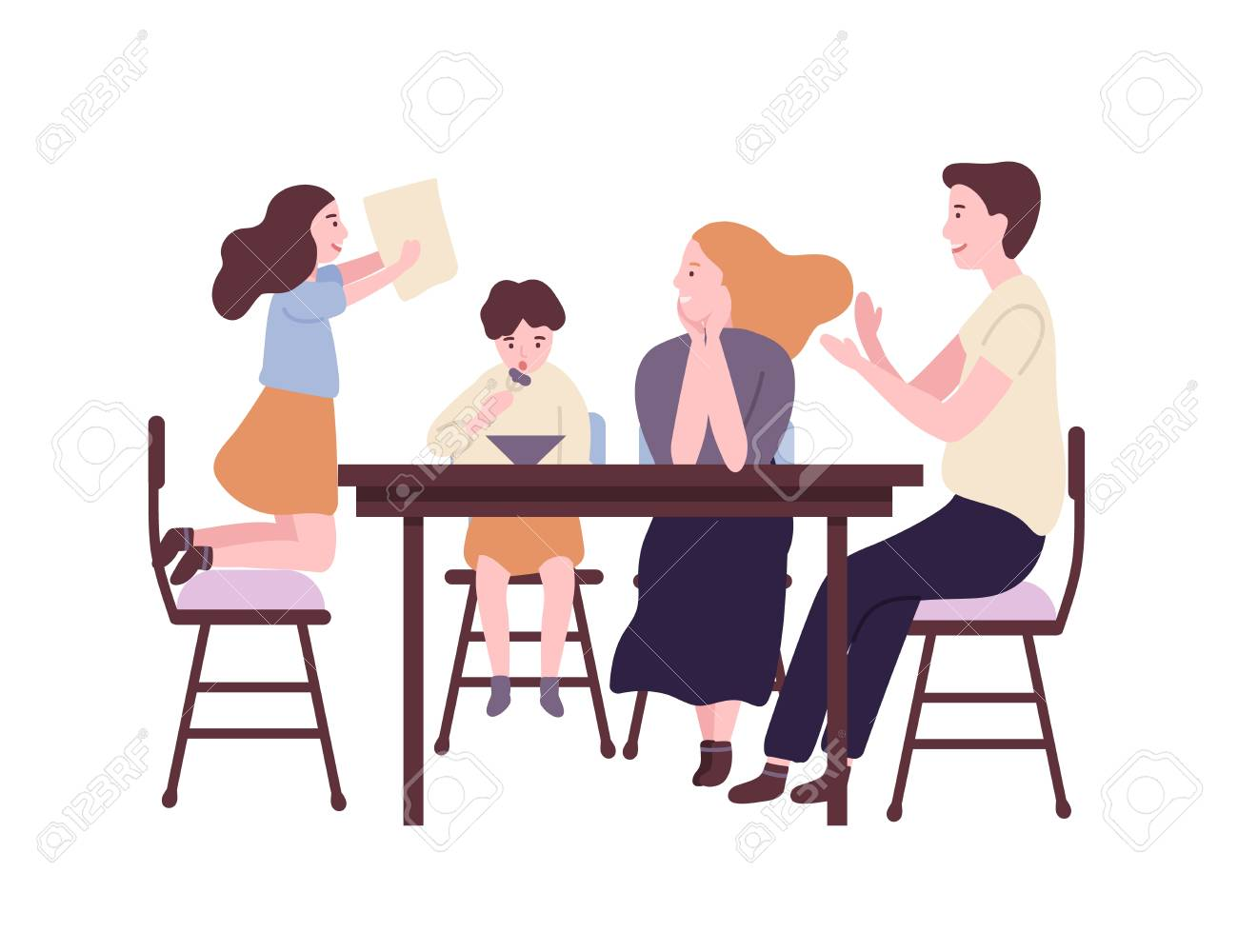 Happy family sitting at dining table and having breakfast, lunch or dinner. Smiling mother, father, son and daughter eating together. Parents and child at home. Flat cartoon vector illustration - 123621893