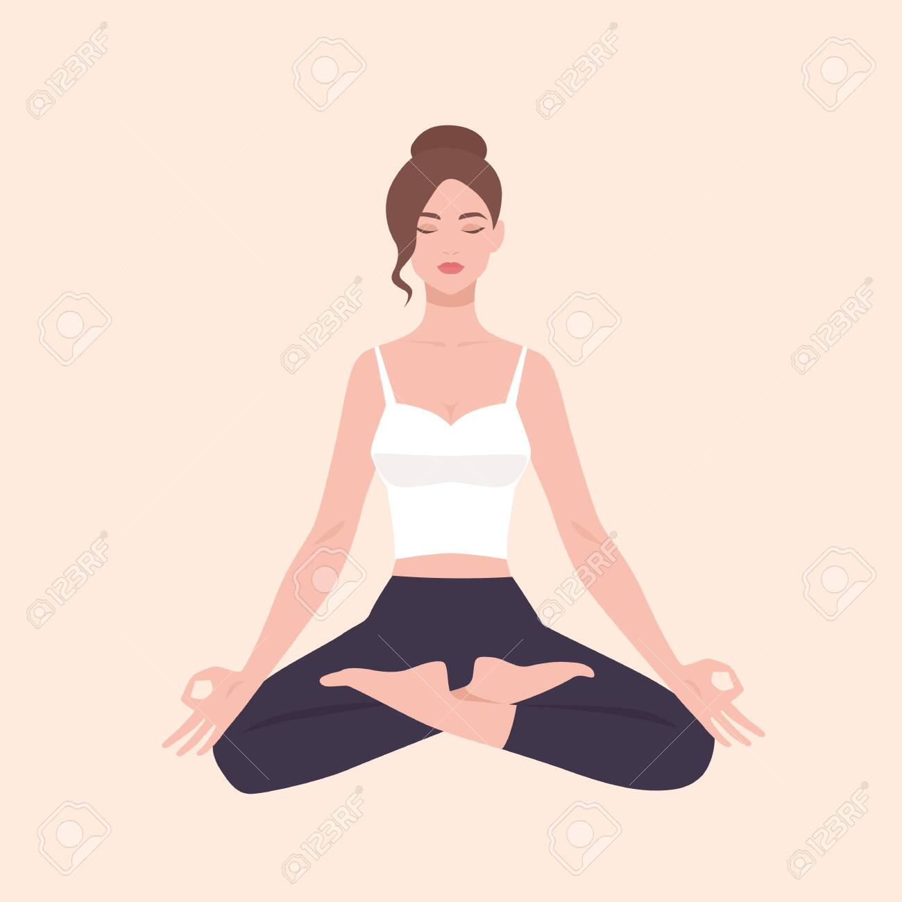 Young Pretty Woman Performing Yoga Exercise Female Cartoon Character Royalty Free Cliparts Vectors And Stock Illustration Image 123249596
