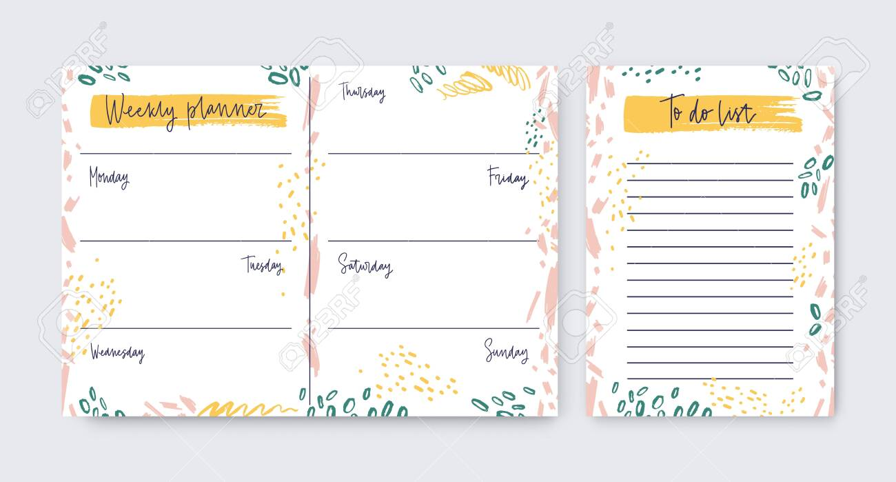 Collection Of Vertical Weekly Planner And To do list Templates ...