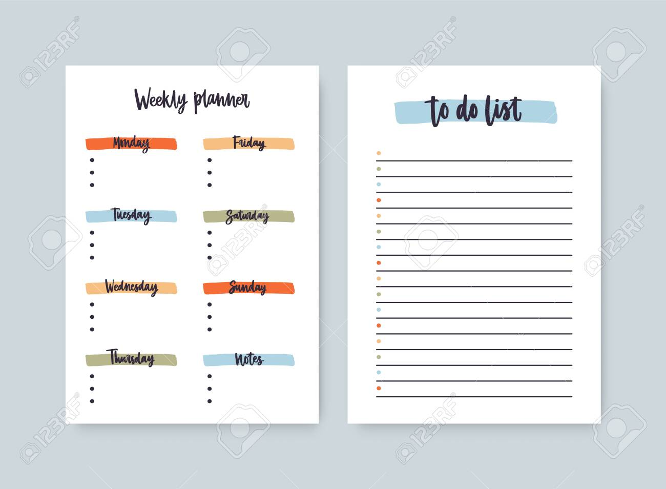 photo relating to Printable Daily to Do List named Package deal of weekly planner and towards-do-listing templates with headings..