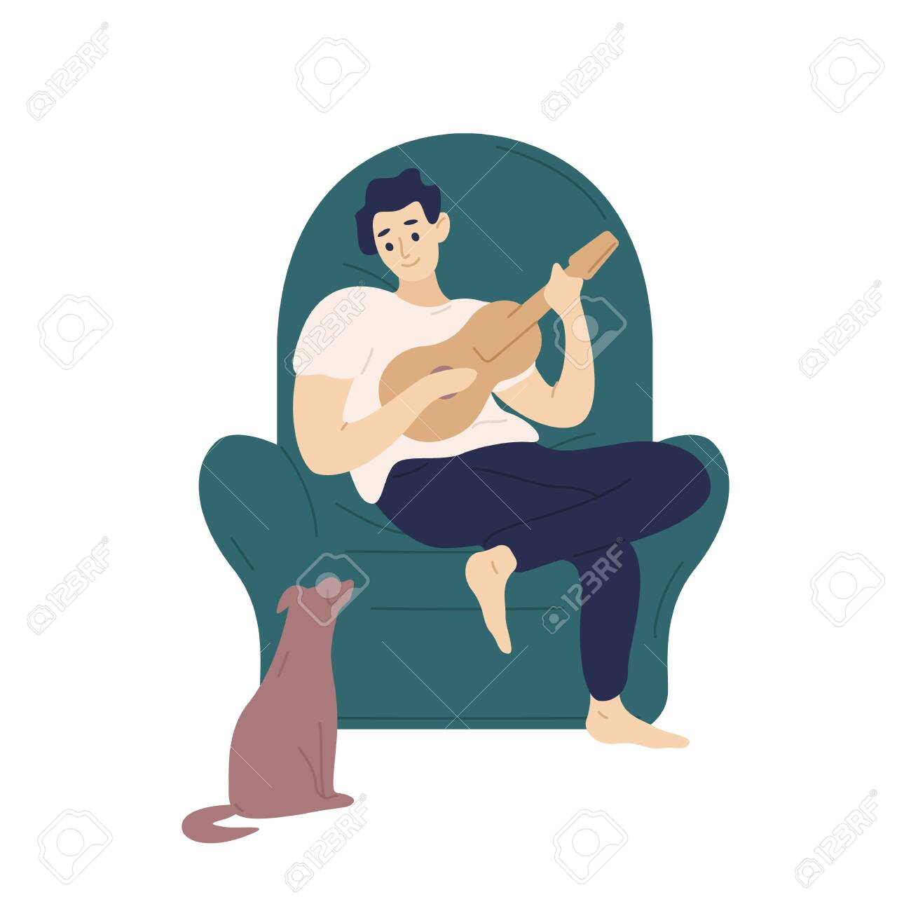 Cute boy sitting in comfy armchair and playing ukulele for his dog. Funny adorable musician with guitar and his domestic animal. Young man relaxing at home. Flat cartoon colorful vector illustration - 128183409