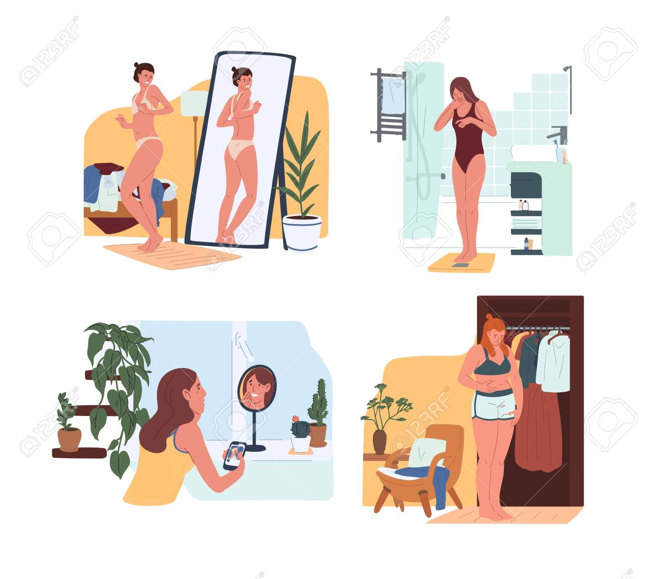Young funny women in underwear looking in mirror and weighing on scales. Body rejection problem, dysmorphophobia, self hate, dissatisfaction with appearance. Flat cartoon colorful vector illustration - 128183492