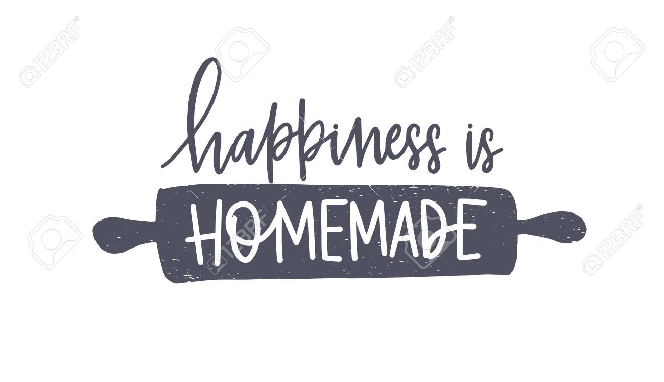 photo about Happiness is Homemade titled Contentment Is Home made term handwritten with cursive calligraphic..