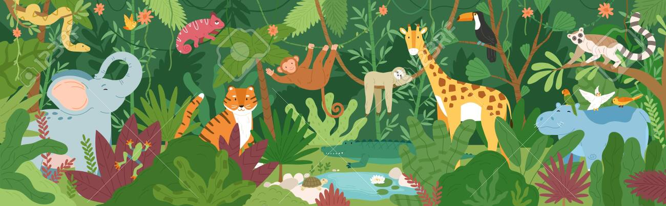 Adorable exotic animals in tropical forest or rainforest full of palm trees and lianas. Flora and fauna of tropics. Cute funny inhabitants of African jungle. Flat cartoon colorful vector illustration - 128183639