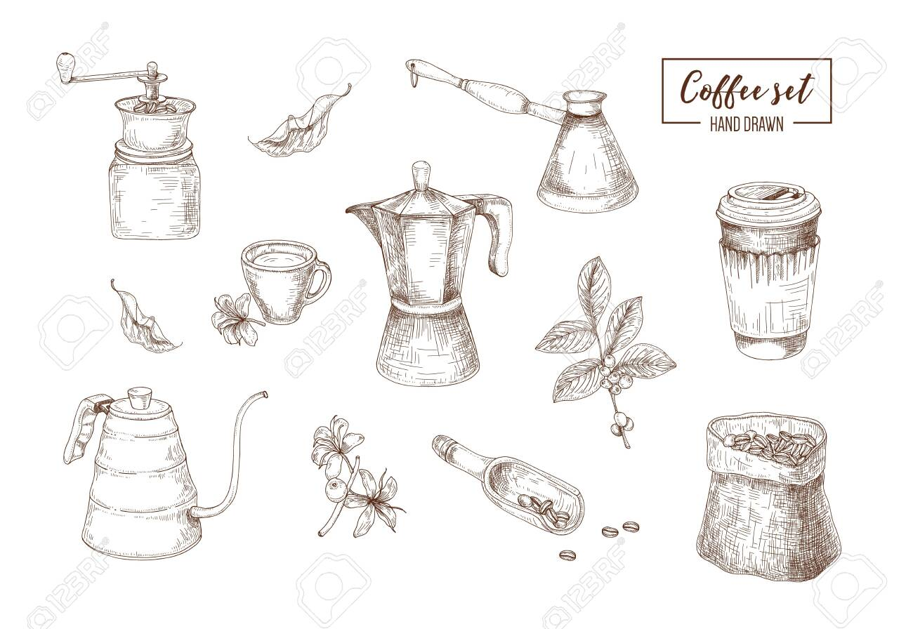 8x12 FT Coffee Vinyl Photography Background Backdrops,Detailed Sketch of Coffee Making Process from Bean to Brewing Vintage Methods Background for Selfie Birthday Party Pictures Photo Booth Shoot