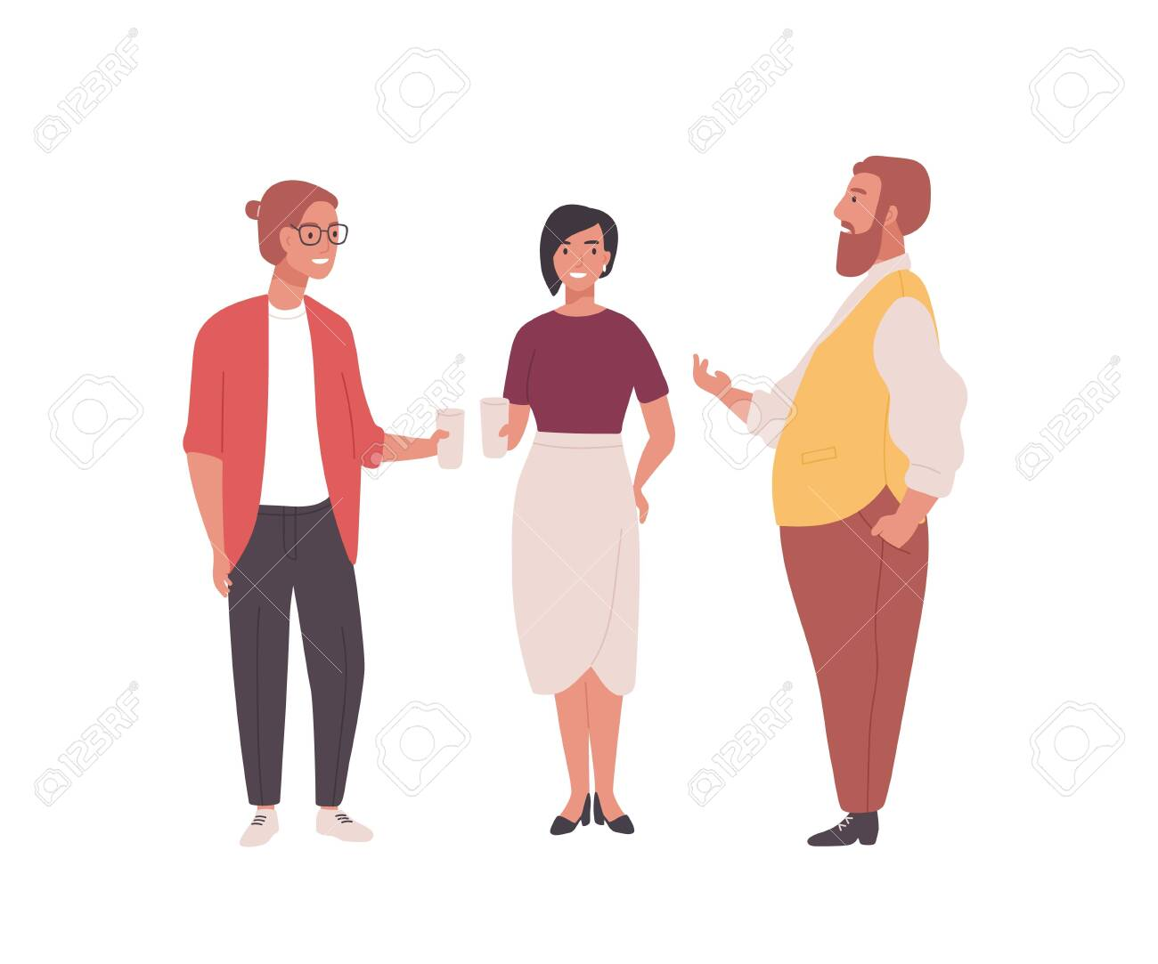 Group of employees, clerks or office workers. Funny men and women standing together and talking. Professional conversation among colleagues during coffee break. Flat cartoon vector illustration - 128183689