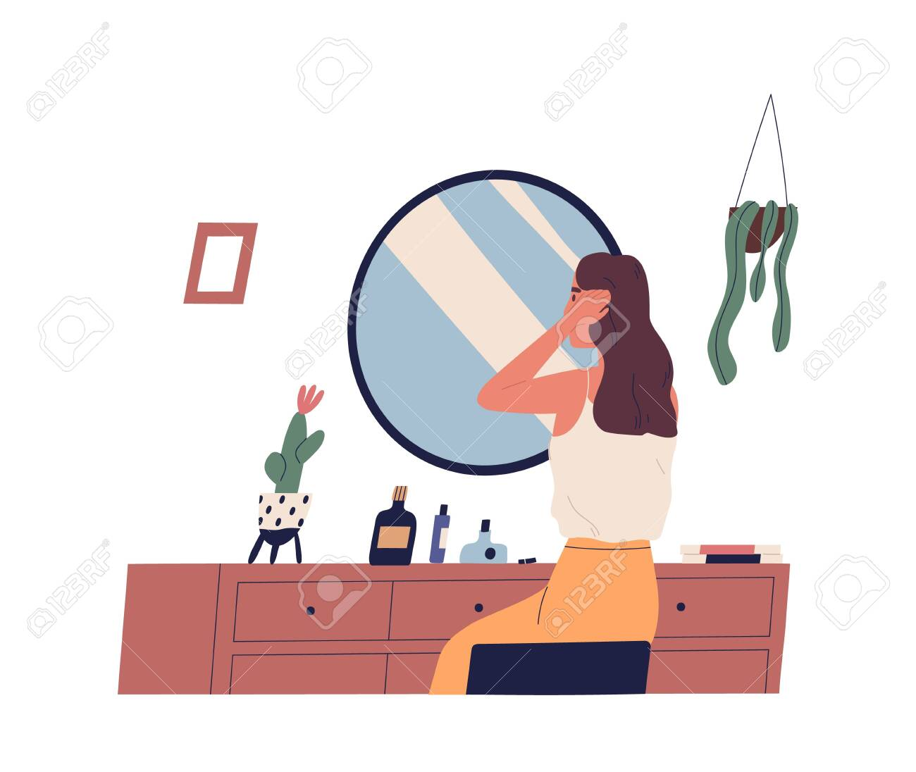 Young woman sitting at dressing table and primping her hair. Cute girl making hairstyle in front of mirror. morning routine, start of working day, everyday life. Flat cartoon vector illustration - 128183697