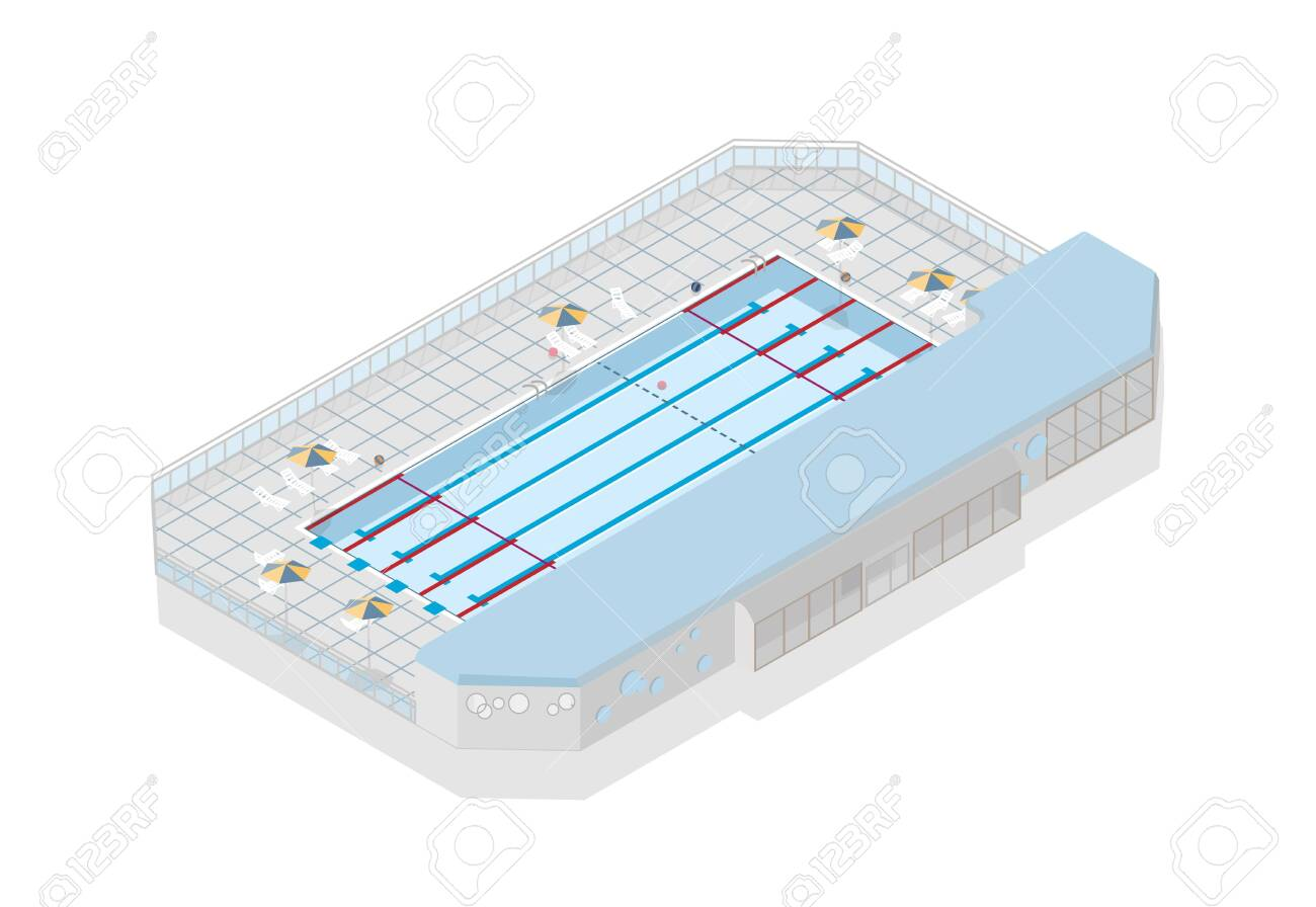 Olympic-size swimming pool for international competition isolated..