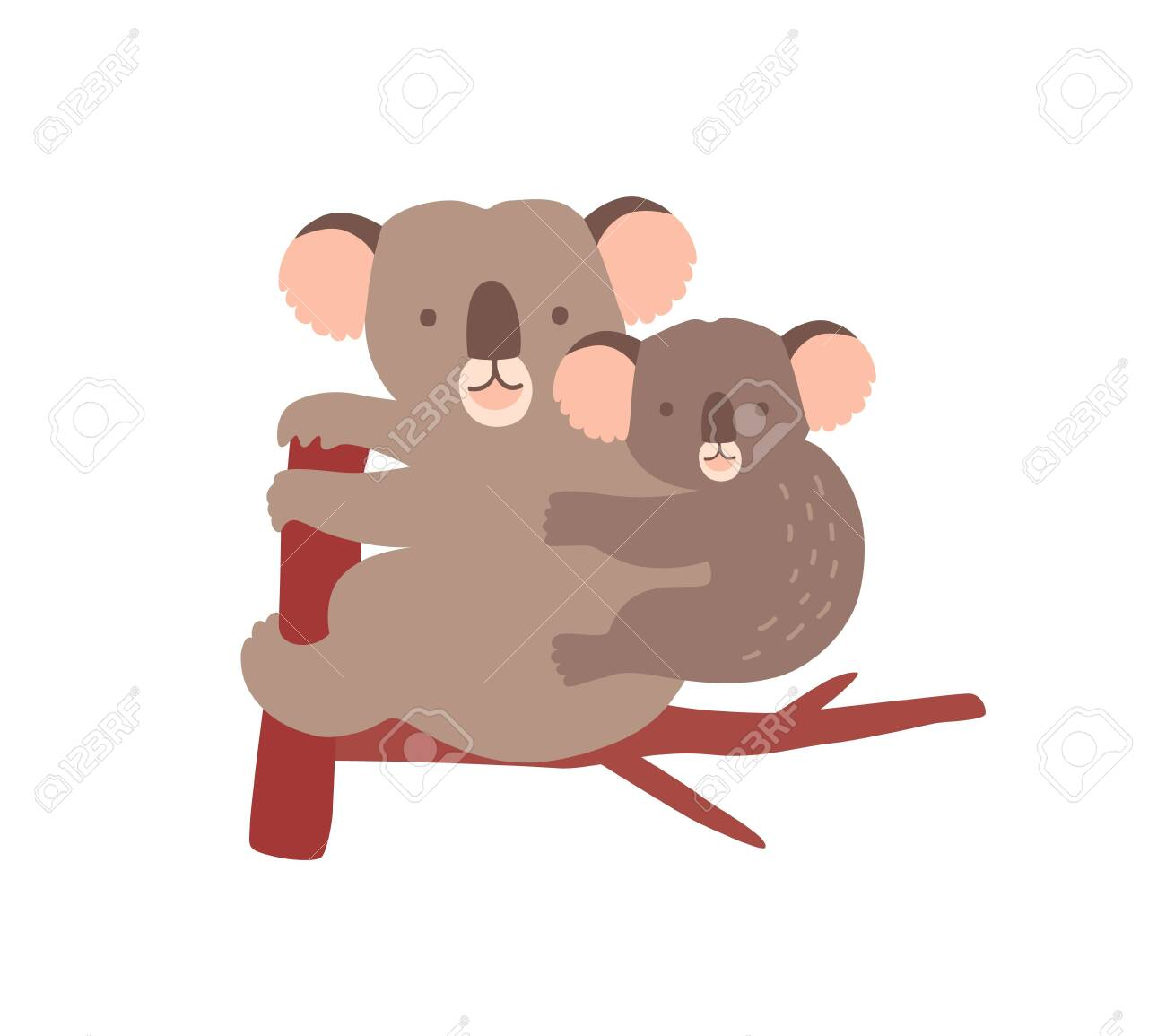 Koala Hugging Tree Cartoon : Valentine koala cartoon heart hug copyspace stock vector.
