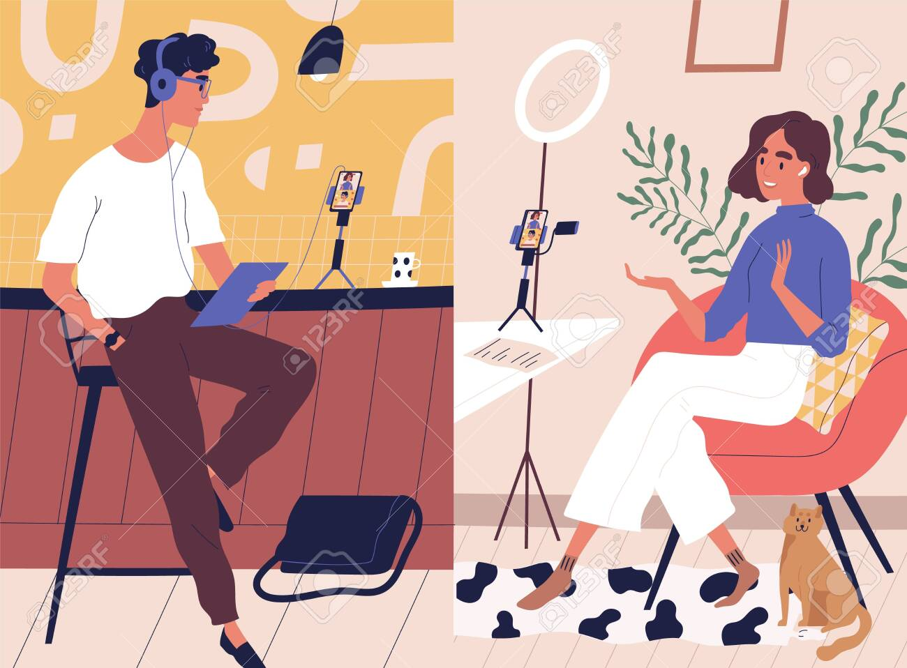 Live streaming, broadcast flat vector illustration. Male and female social media network bloggers collaboration. Vloggers cartoon characters. Interview, podcast, video recording in studio. - 133658879