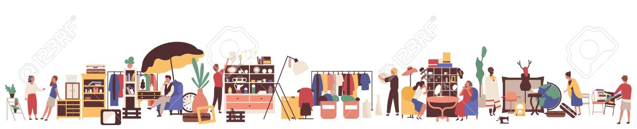 Flea market flat vector illustration. Customers and sellers cartoon characters. Clothing and vintage goods retail business. Garage sale, second hand shop. Merchandise and consumerism concept. - 134323409