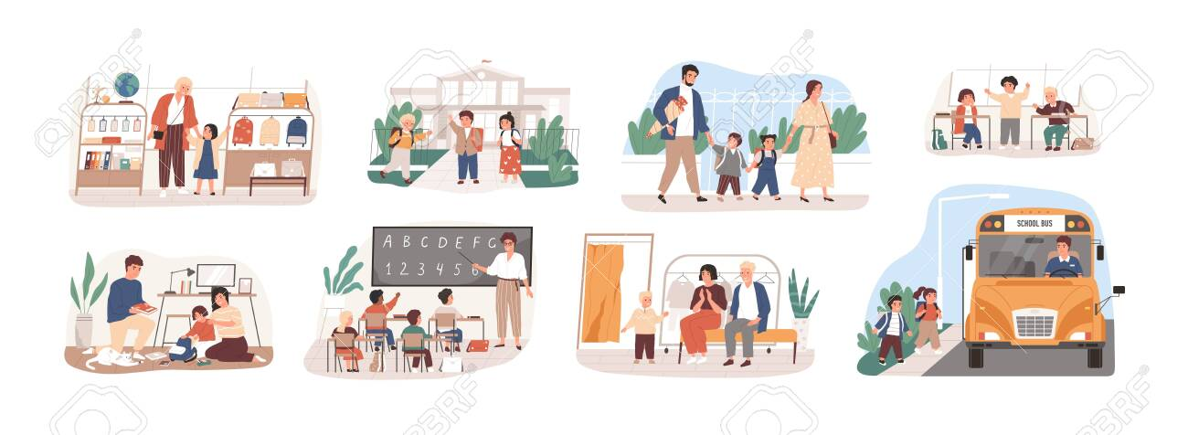 Back to school vector illustrations set. Preparation to Day of knowledge, school supplies buying, first grader gathering. Pupils and teacher, parents and children, bus driver cartoon characters. - 134453953